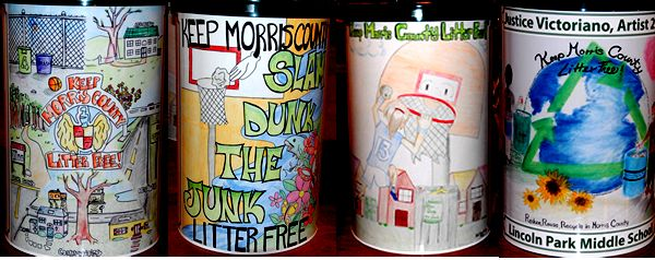 Image of 2 recycling containers with paintings of the 4 Slam Dunk the Junk winners.