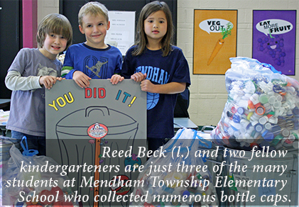 Reed Beck (l.) and two fellow kindergarteners are just three of the many students at Mendham Township Elementary School who collected numerous bottle caps.