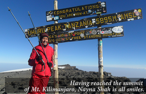 Having reached the summit of Mt. Kilimanjaro, Nayna Shah is all smiles.