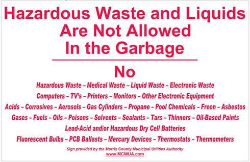 image of decal hazardous waste not allowed in the garbage