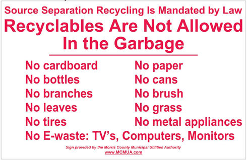 image of recyclables not allowed in the garbage decal