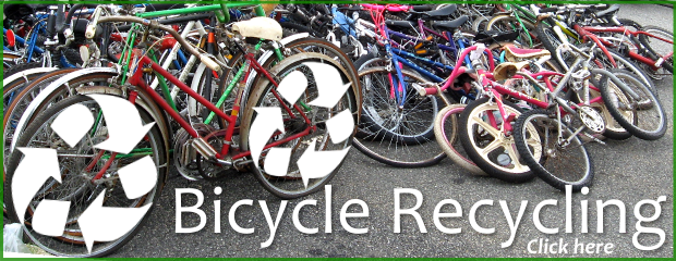 image showing bicycle recycling and click here