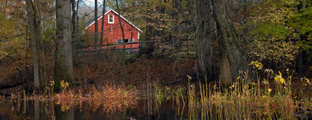 Image of the Passaic River and Red Barn in the Fall